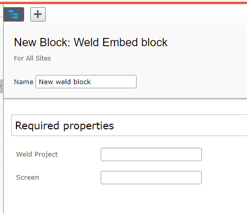 Settings for Weld block in Episerver